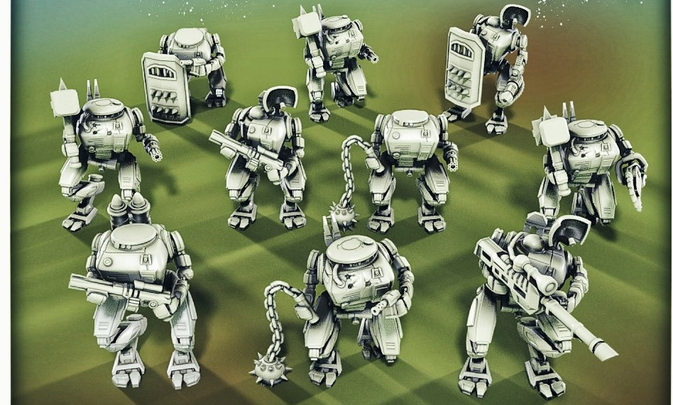 urban clearance and tactical war droid minatures for 3d printing
