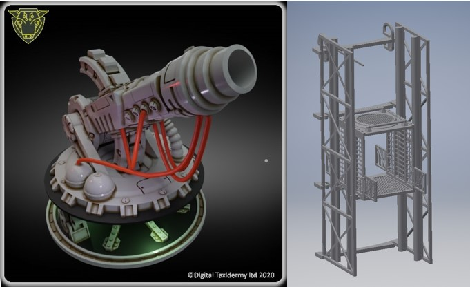 3d printable planetary defence laser and elevator for miniature wargaming